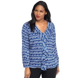 THE LIMITED Blue Ruffle Front Blouse